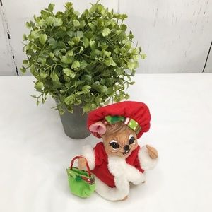 Annalee Christmas Mouse, Red Felt Dress & Hat
